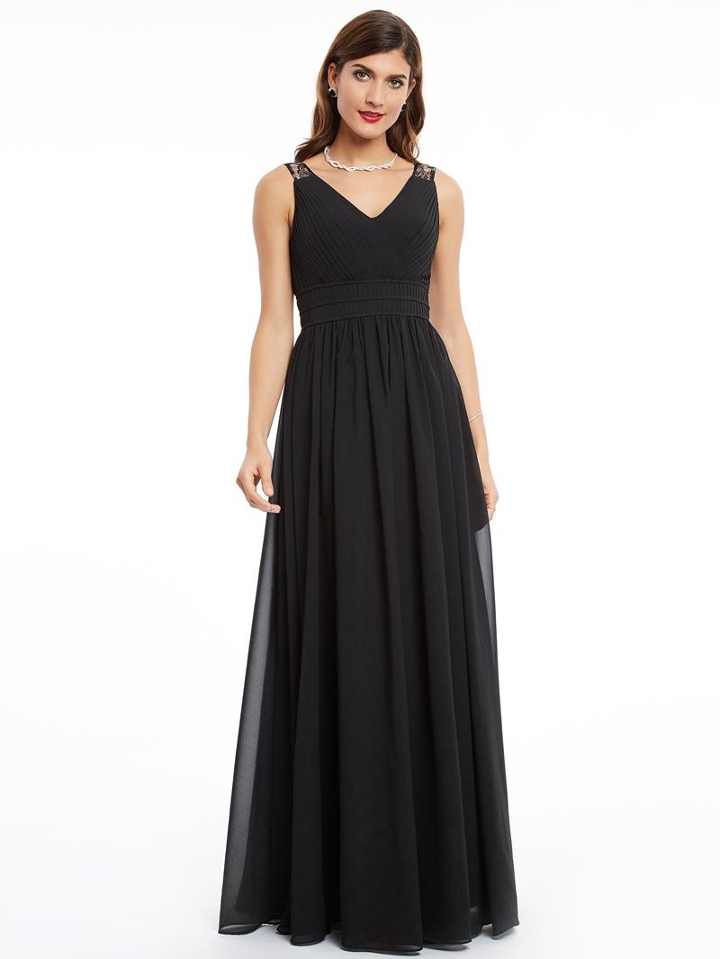 Ericdress A Line V Neck Chiffon Long Evening Dress In Floor Length