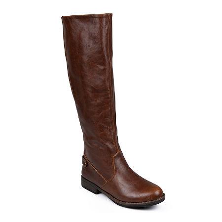 Journee Collection Womens Lynn Wide Calf Riding Boots, 8 1/2 Medium, Brown