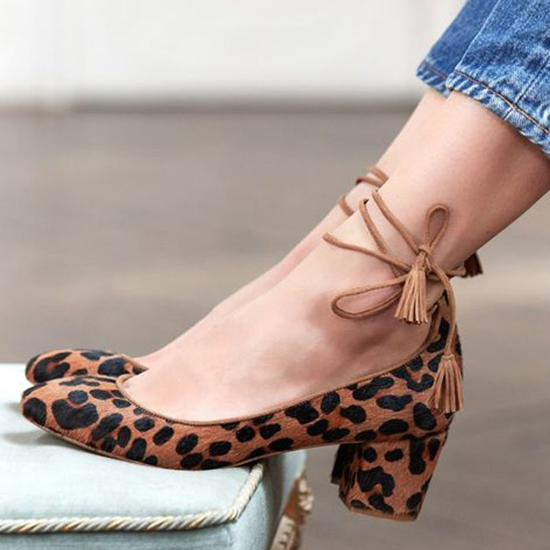 Ericdress Lace-Up Chunky Heel Women's Pumps