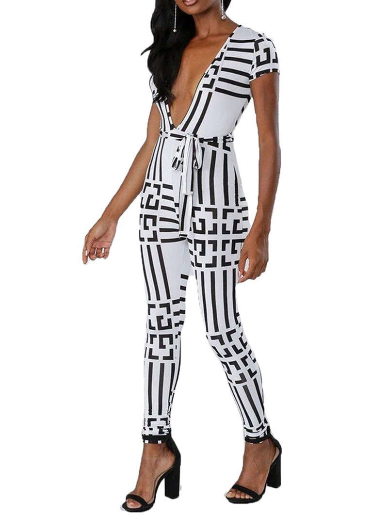 Ericdress Lace-Up Color Block Skinny Black And White Jumpsuit