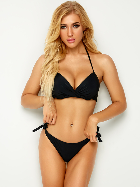 Yoins Black Push Up Twist Front Backless Bikini Top & Tie-up Side Bottom Set