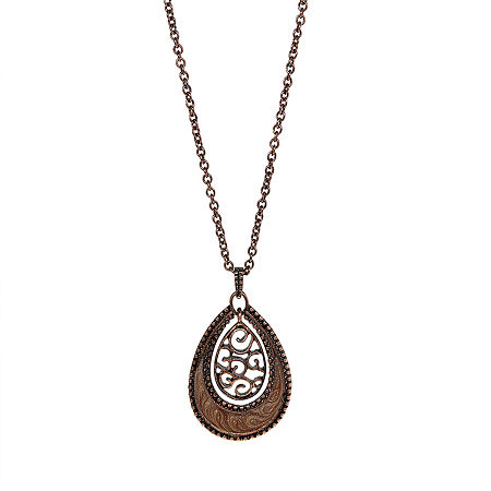 1928 Filigree 16 Inch Link Pendant, One Size , Brown