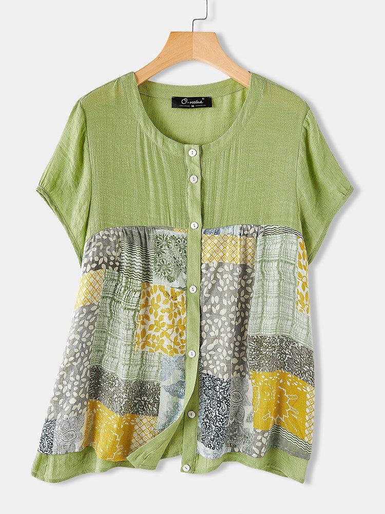 Casual Print Patchwork Short Sleeve Plus Size Shirt