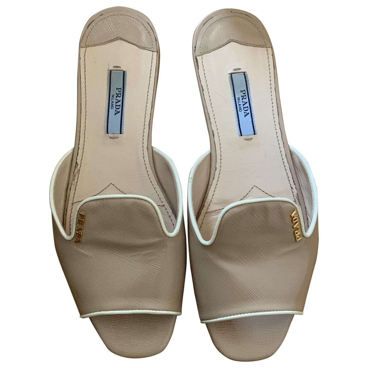 Prada \N Beige Leather Sandals for Women 37 EU