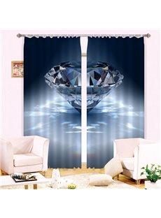 3D Beautiful Light Blue Diamond Printed Living Room Decorative and Blackout Curtain