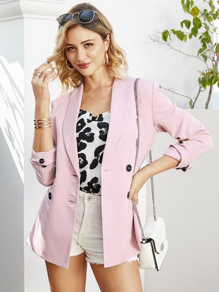 YOINS Pink Lapel Collar Long Sleeves Blazer
