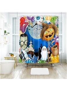 Cartoon Figures Halloween Scene Pattern Polyester Anti-Bacterial Shower Curtain
