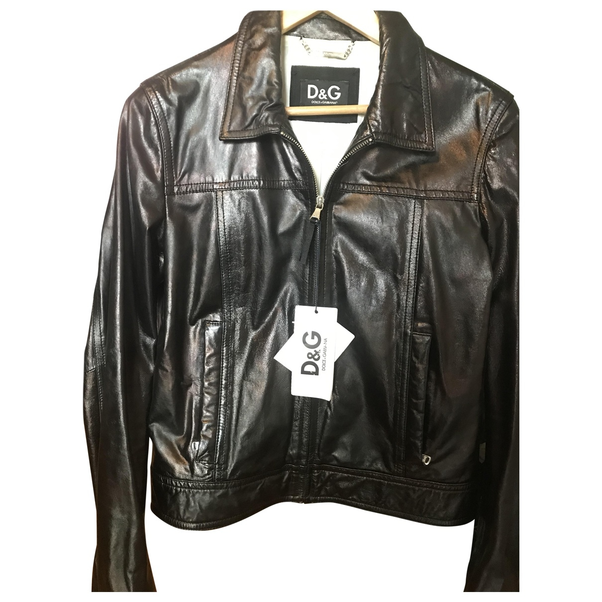 D&g \N Black Leather Leather jacket for Women 46 IT