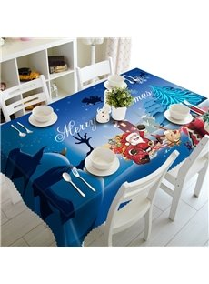 3D Santa Claus with Elks and Cute Snowman Printed Home Party Decorative Table Cloth