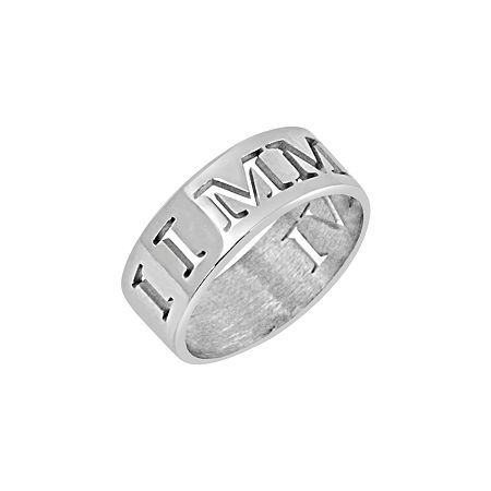 Personalized Roman Numeral Date Ring, 6 , White