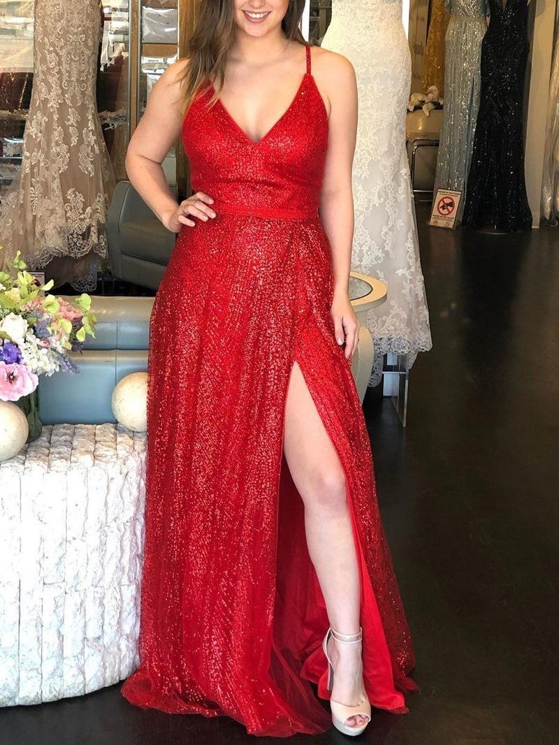 Sleeveless Spaghetti Straps A-Line Split-Front Prom Dress