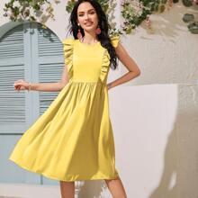 Solid Ruffle Trim A Line Dress