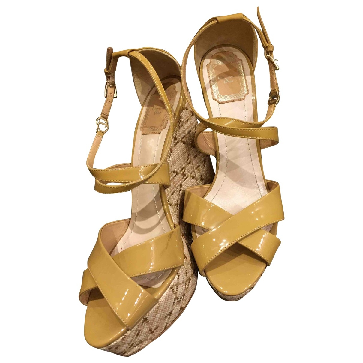 Dior \N Camel Patent leather Sandals for Women 39.5 EU