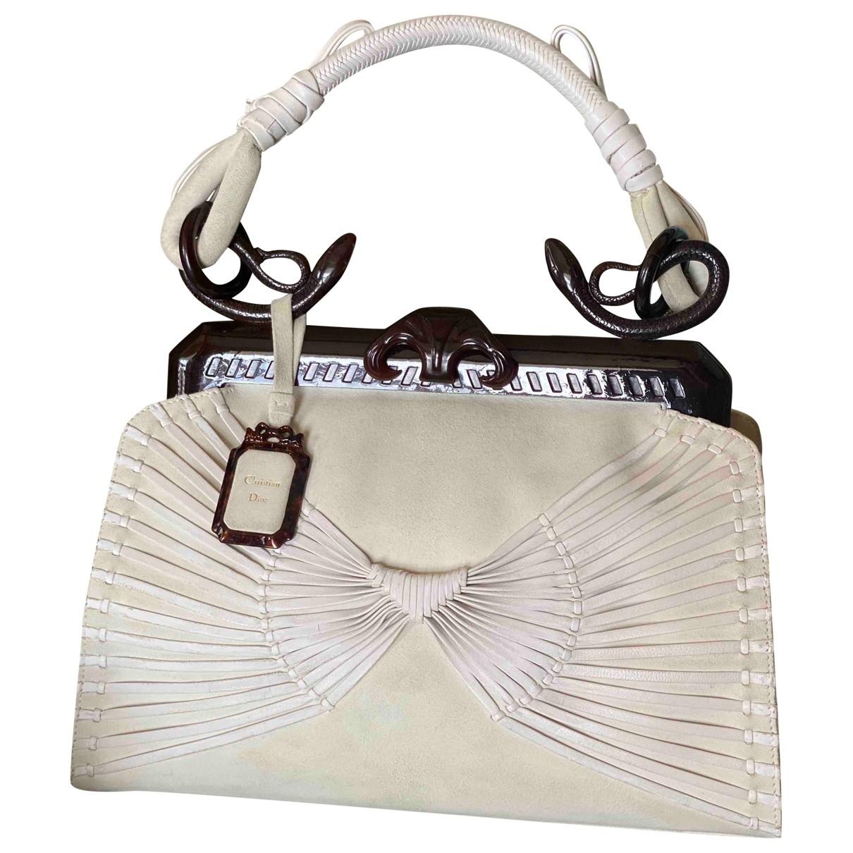 Dior \N Ecru Suede handbag for Women \N