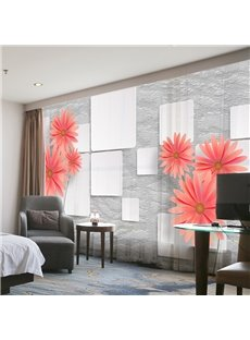 3D Modern Style White Wall Floral Decoration 2 Panels Custom Sheer