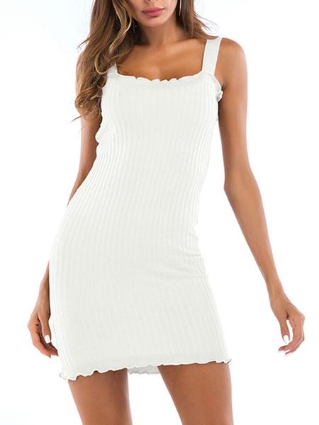 Milanoo Knitted Bodycon Dresses Sleeveless Women Sheath Dress