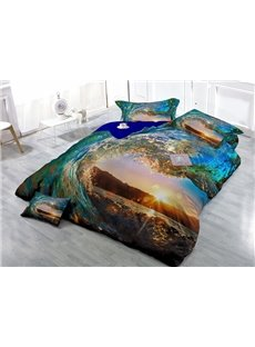 Marvelous Blue Spindrift Wear-resistant Breathable High Quality 60s Cotton 4-Piece 3D Bedding Sets