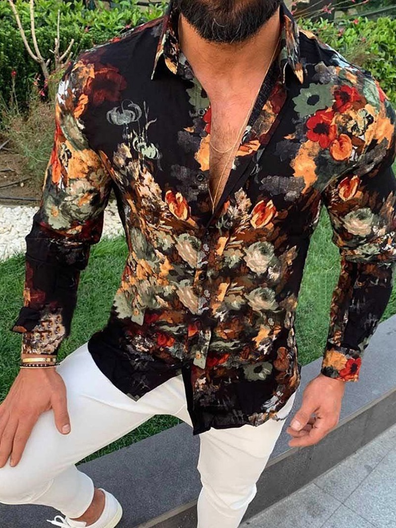Ericdress Floral Print Lapel Fall Single-Breasted Slim Shirt