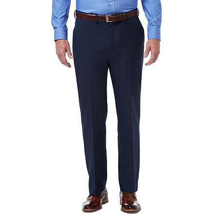 Haggar Premium Comfort Dress Pant Classic Fit Flat Front, 34 30, Blue