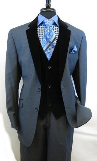 Men's Blue Velvet Vested Two Button Single Breasted Side Vents Suit