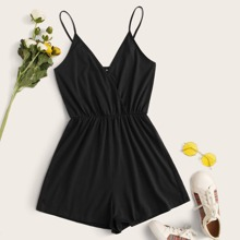Surplice Neck Solid Cami Romper