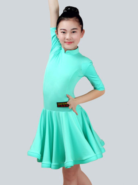 Milanoo Dance Costumes Latin Dancer Dresses Kids Half Sleeve Peachpuff Ballroom Dancing Wears Outfit For Girls Halloween