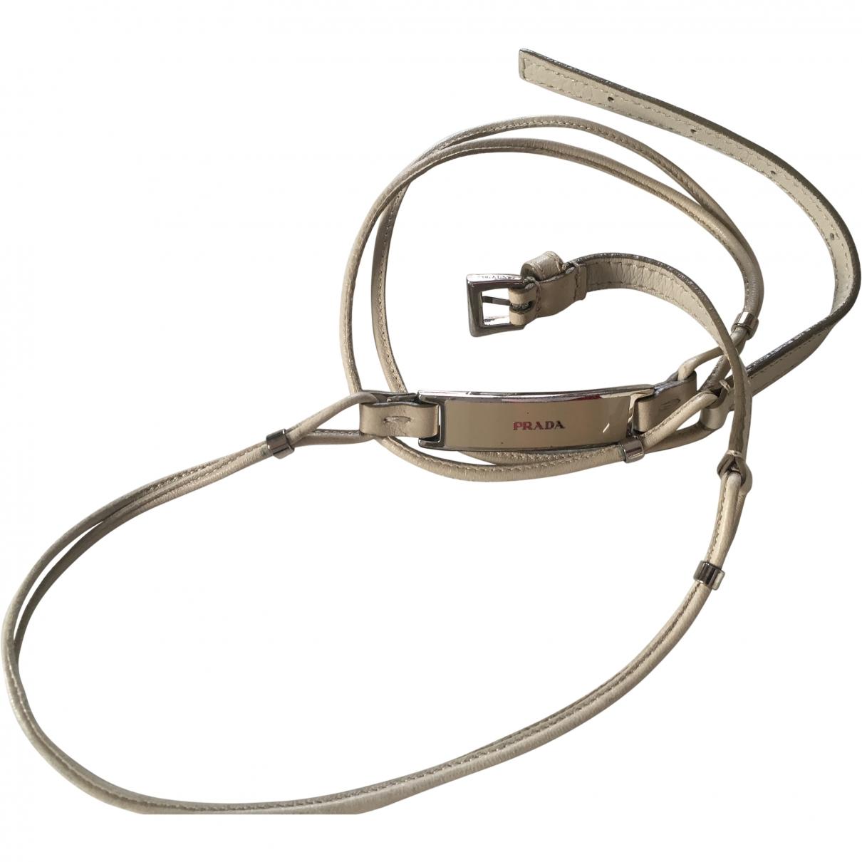 Prada \N Beige Leather belt for Women 80 cm