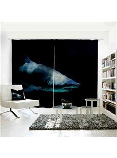 Black Dark Shark 3D Animal Polyester Shading Curtain