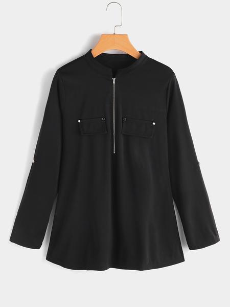 Yoins Black Zip Front Crew Neck Adjustable Sleeves Length Blouses