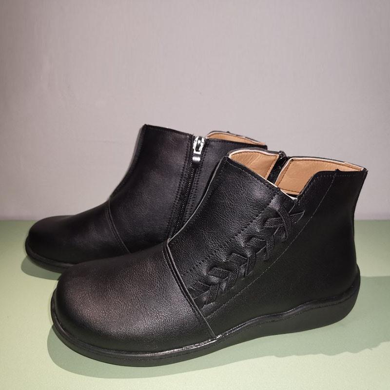Ericdress Plain Side Zipper Round Toe Western Boots
