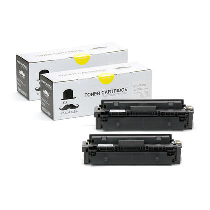 Compatible HP 410X CF412X Yellow Toner Cartridge High Yield - Moustache - 2/Pack