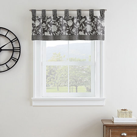 Waverly Stencil Vine Light-Filtering Tab Top Valance, One Size , Black