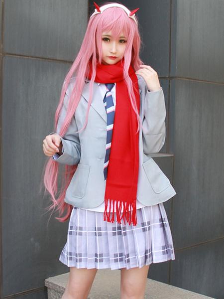 Milanoo Darling In The FranXX Code 002 Zero Two School Girl Uniform Halloween Cosplay Costume