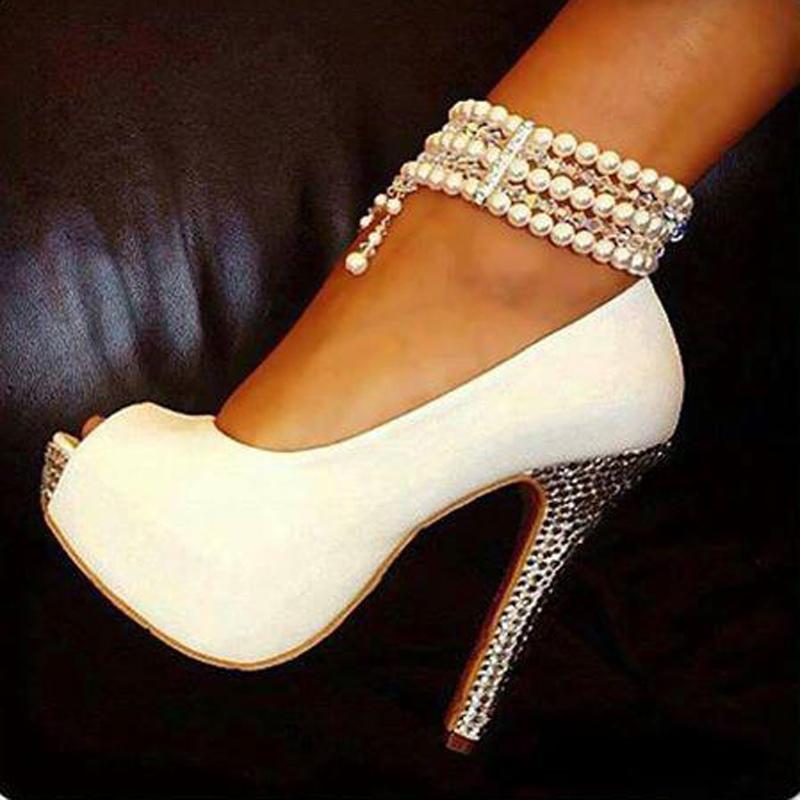 Elegant White Pearl Ankle Strap Peep Toe High Heel Shoes