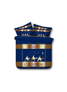 Merry Christmas Printed Cotton 4-Piece 3D Blue Bedding Sets/Duvet Covers