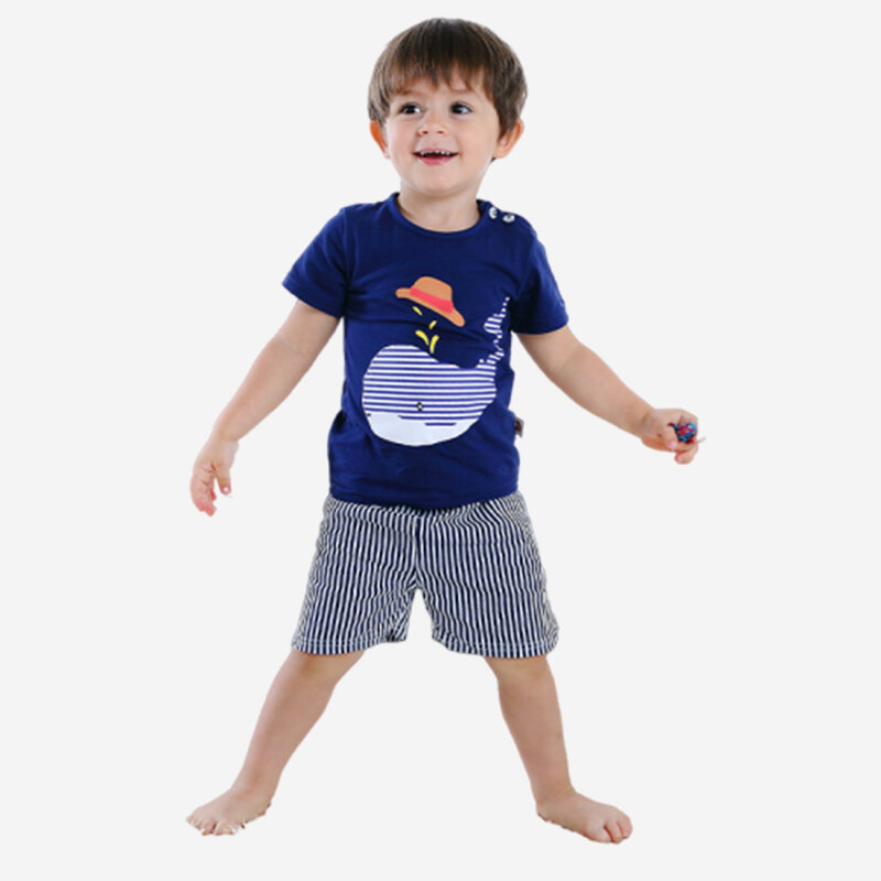 Boy's Dolphin Striped Print Short Sleeves Pajama Casual Clothing Set For 1-5Y