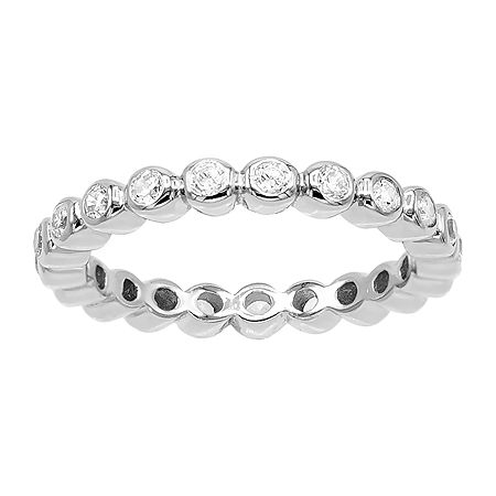 DiamonArt 3MM 1/2 CT. T.W. White Cubic Zirconia Sterling Silver Eternity Band, 8 , No Color Family