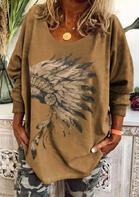 Feather Long Sleeve O-Neck Blouse - Khaki