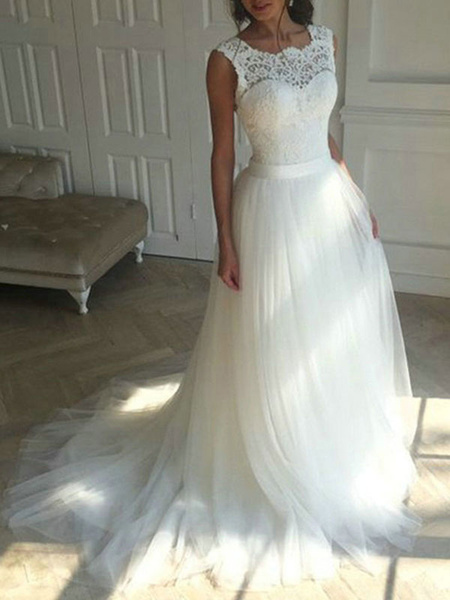 Milanoo Wedding Dress 2020 Jewel Neck a line Sleeveless lace Applique Tulle Bridal Gowns With Train