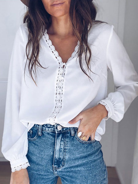 Milanoo Blouse For Women White V-Neck Casual Long Sleeves Lace Polyester Tops