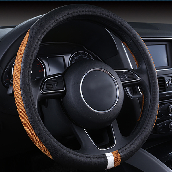 New Super Popular Contrast Color Leather Durable Comfortable Car Steering Wheel Cover