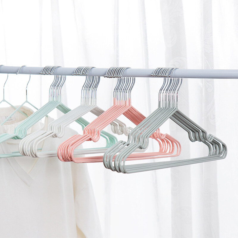 10 PCS Bold Clothes Hanger Impregnated Plastic Adult Anti-Skid Drying Hook Clothes Hanging