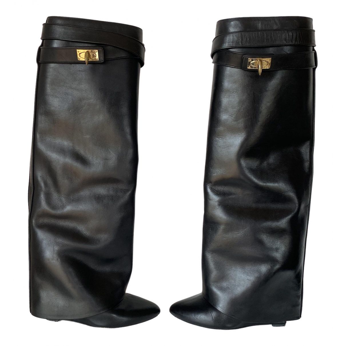 Givenchy Shark Black Leather Boots for Women 37 EU