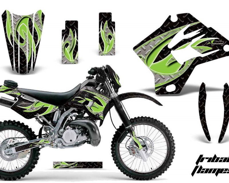 AMR Racing Graphics MX-NP-KAW-KDX200-95-06-TF G K Kit Decal Sticker Wrap + # Plates For Kawasaki KDX200 1995-2006 TRIBAL GREEN BLACK