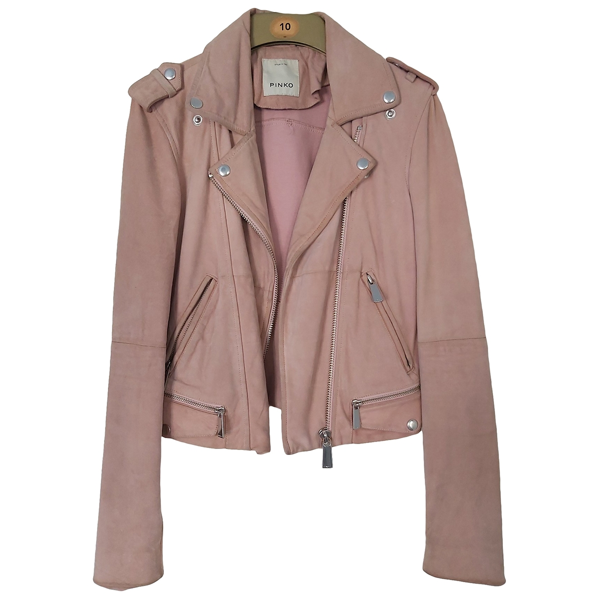 Pinko \N Pink Suede Leather jacket for Women 36 FR