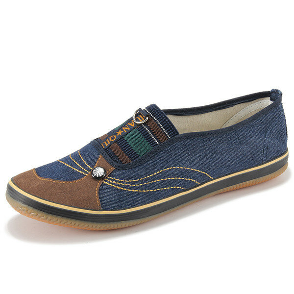 Denim Color Match Button Canvas Slip On Flat Casual Shoes