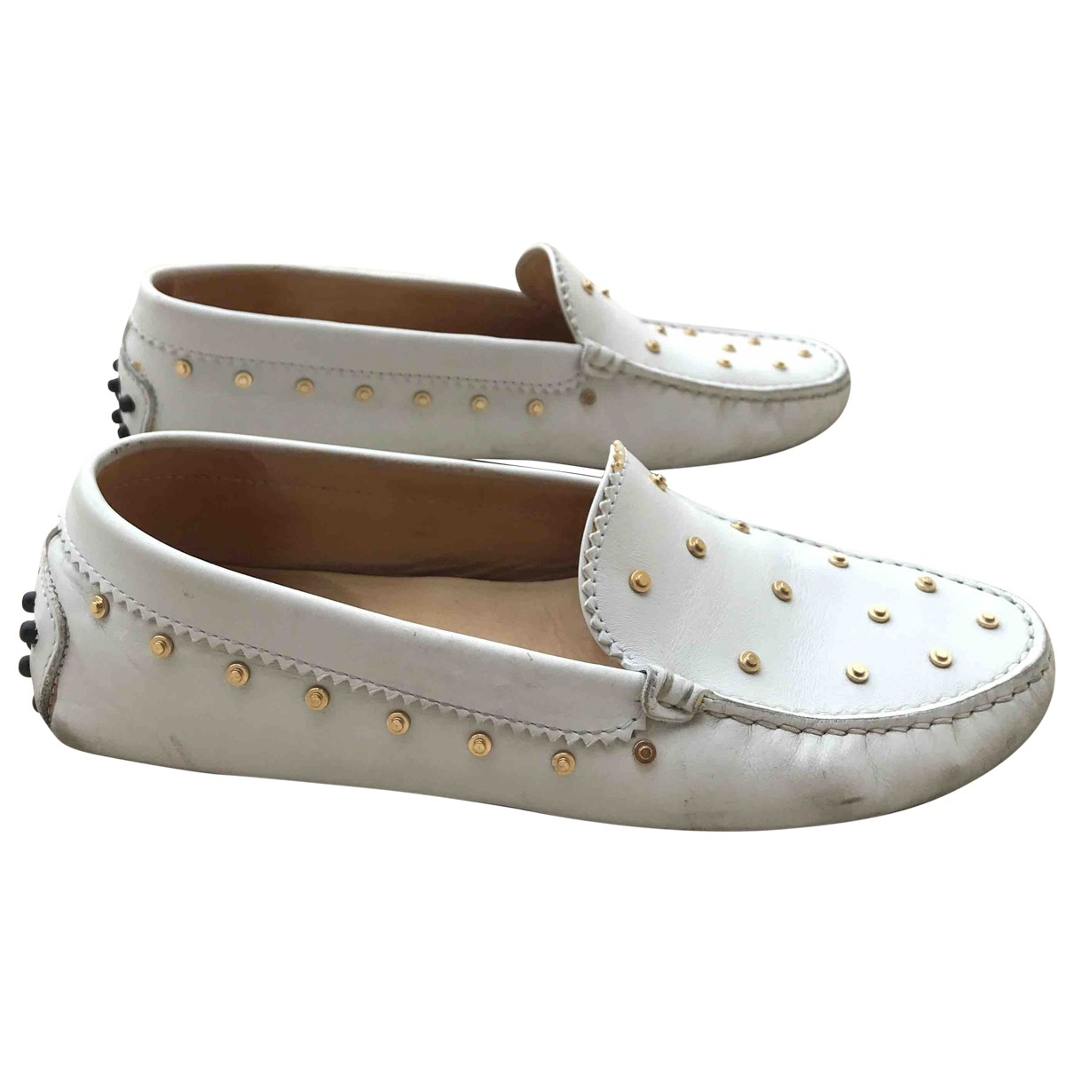 Tod's \N White Leather Flats for Women 36.5 EU