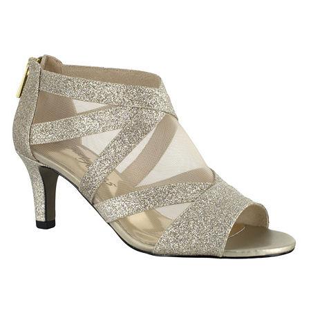 Easy Street Womens Dazzle Zip Open Toe Spike Pumps Heel, 9 1/2 Medium, Yellow