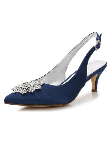 Milanoo Deep Blue Mother Shoes Satin Pointed Toe Rhinestones Slingbacks Wedding Shoes Kitten Heels