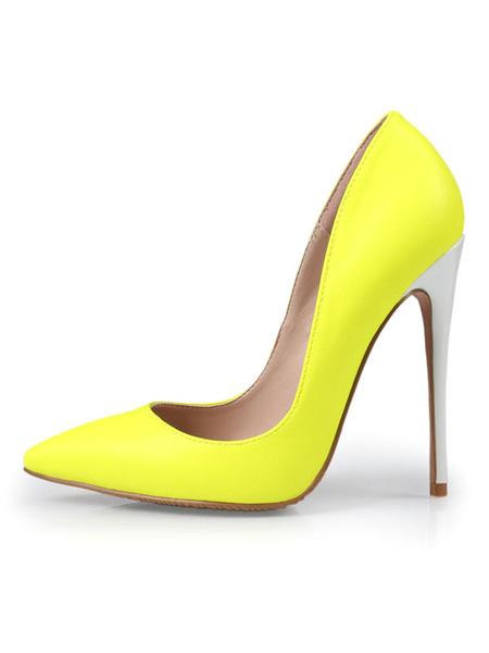 Milanoo Women High Heels Pointed Toe Slip On Pumps Yellow Basic Heeled Shoes
